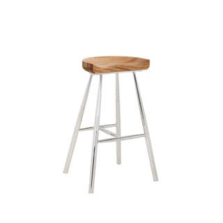 """Sunpan Copley Brown Wood/Stainless Steel 30"""" Barstool"""