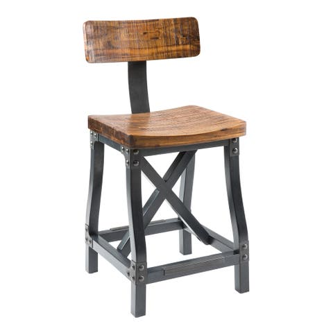 "INK+IVY Lancaster Amber/ Graphite Counter Stool with Back - 17.5""W x 21.625""D x 37.625""H"