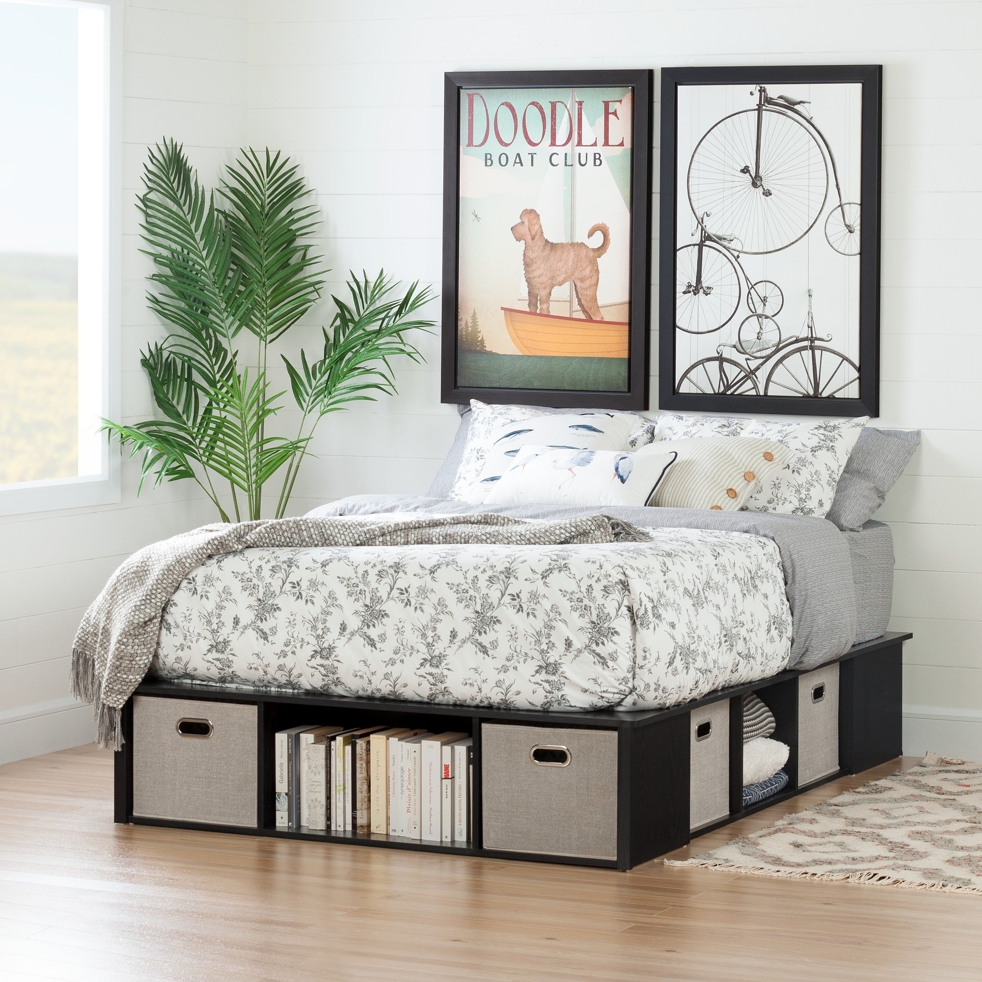 Full Size Black Oak Platform Storage Bed