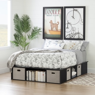 south shore flexible black oak full size platform bed with storage and baskets 54 inches