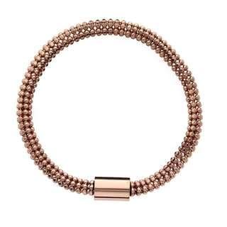 Isla Simone - 18 Karat Rose Gold Electro Plated Flexible Bead Chain Tube Bracelet
