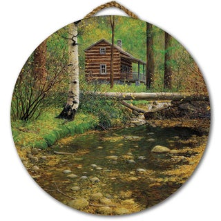 WGI Gallery 'Autumn Hideaway' Wooden Round Wall Art