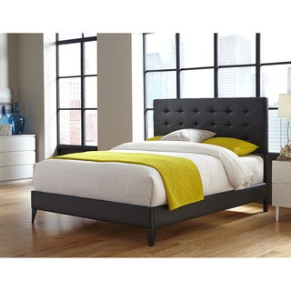 Sullivan Platform Bed with Faux Leather Upholstered Frame and Button-Tufting