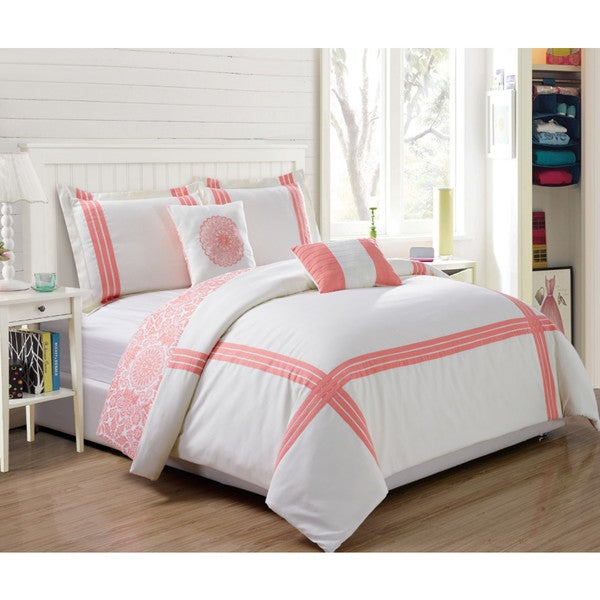 5-Piece Reversible Hotel Finley Coral and White Comforter Set