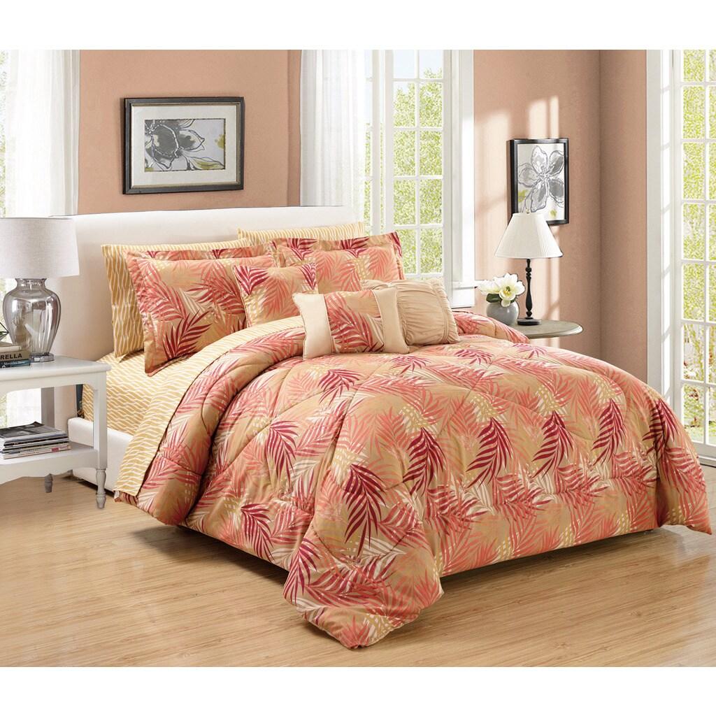 10-Piece Augusta Comforter and Sheet Set (Queen), Beige (...