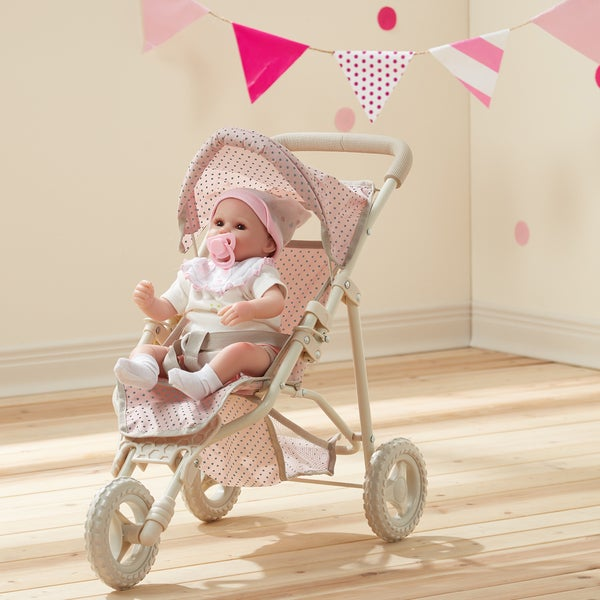 Teamson Olivia's Little World Pink and Grey Polka-dot Princess Baby Doll Jogging Stroller