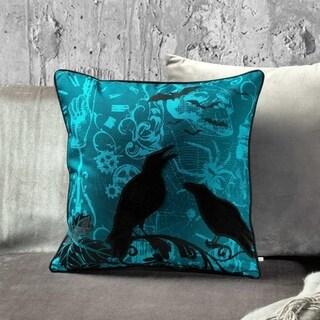 Blue & Black Cotton & Velvet 18-inch Halloween Crow Throw Pillow