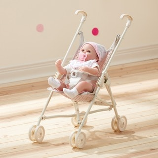 Teamson Kids' Olivia's Little World Pink and Grey Polka Dots Princess Baby Doll Stroller