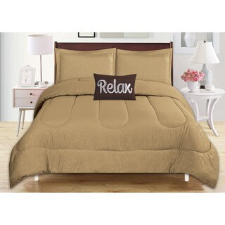 4-Piece Babylon Taupe Embossed Comforter Set