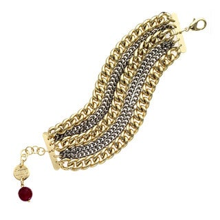 Isla Simone - 18 Karat Gold And Paladium Plated Seven Strand Twisted Link Bracelet With Red Crystal Faceted Bead