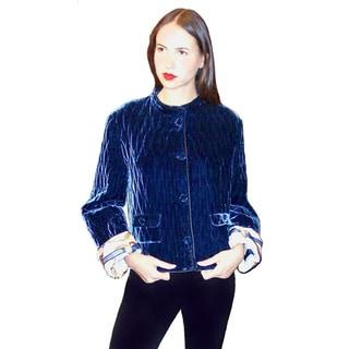 Dolores Piscotta Blue Velvet Quilted Velvet Jacket