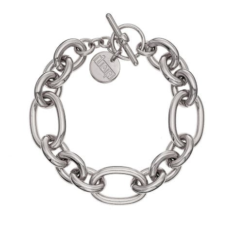 Isla Simone - Rhodium Plated Multi Link Bracelet with Toggle