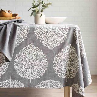 Bon Now Designs Elmwood Grey Cotton Chambray Weave Tablecloth