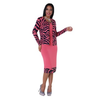 Kayla Collection Woman's Two Tone Zebra Print Rhinestone Knit Suit
