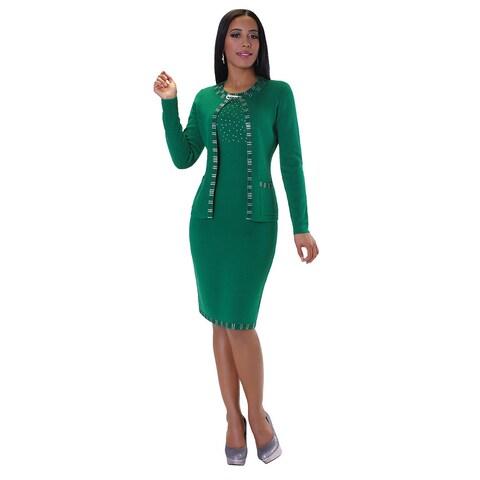 Kayla Collection Women's Green Wool and Rhinestone 2-piece Knit Dress Suit