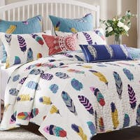 Greenland Home Fashions Dream Catcher Teal 5-Piece Quilt Set