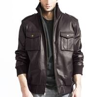 Men's Brown Leather Bomber Jacket with Pockets