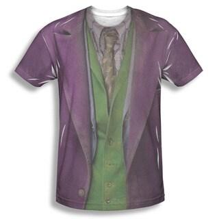 Men's Batman Joker Costume Sublimation Purple Cotton and Polyester Tee Shirt