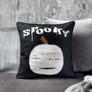 Black and White Spooky Pumpkin Mummy Throw Pillow