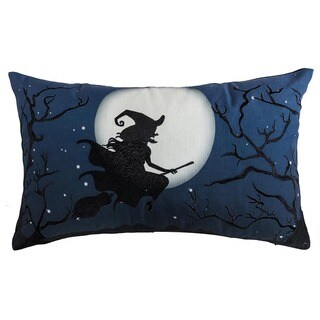 Witches Night Out Halloween Blue Lumbar Pillow