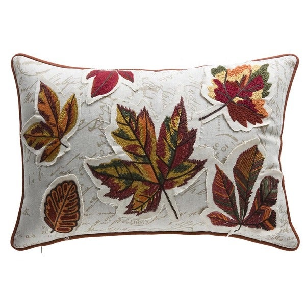 Shop Fall Leaves Multicolor Organic Cotton And Down Lumbar