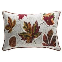Fall Leaves Multicolor Organic Cotton and Down Lumbar Pillow