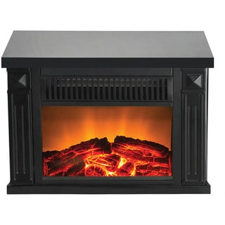 Warm House Zurich Black Metal Compact Retro Programmable Fireplace