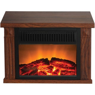 Warm House Zurich Medium Wood-Print Finish Compact Retro Fireplace
