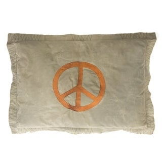Cottage Home Green Cotton Peace Sign Pillow
