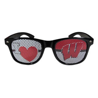 NCAA Wisconsin Badgers Black Plastic 'I Heart Game Day' Shades