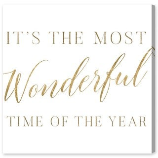 Oliver Gal 'Wonderful Time Gold' Typography and Quotes Wall Art Canvas Print - Gold, White