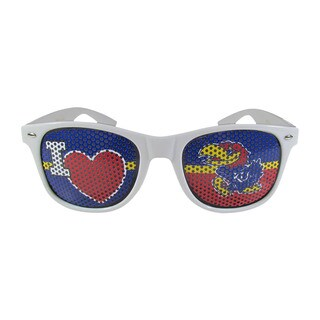 NCAA Kansas Jayhawks Sports Team Logo I Heart Game Day White Polycarbonate Shades