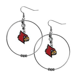 Siskiyou NCAA Louisville Cardinals Sports Team Logo 2-inch Hoop Earrings Pack
