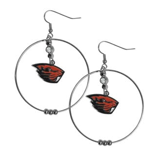NCAA Oregon State Beavers Sports Team Logo Red/Silver Metal Hoop Earrings Pack