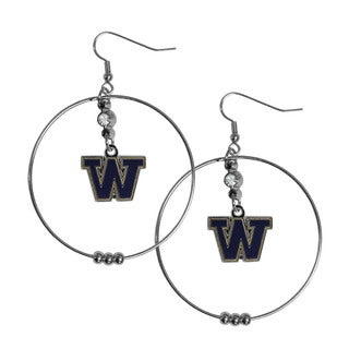 Siskiyou NCAA Washington Huskies Sports Team Logo 2-inch Hoop Earrings Pack