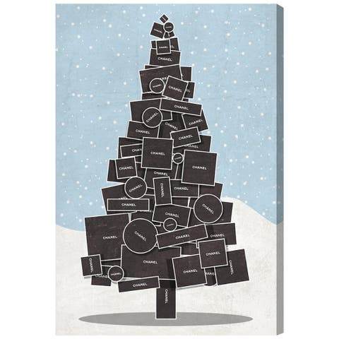 Oliver Gal 'White Christmas' Holiday and Seasonal Wall Art Canvas Print - Black, Blue