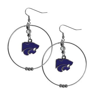 NCAA Kansas State Wildcats Sports Team Logo Silver/Purple Metal Hoop Earrings Pack