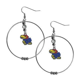NCAA Kansas Jayhawks Crystal/Rhinestone 2-inch Sports Team Logo Hoop Earrings Pack