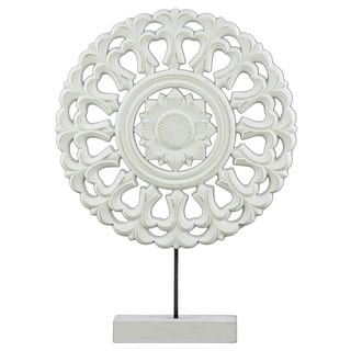 Urban Trends Collection Matte Finish White Wood Round Buddhist Wheel Ornament on Rectangular Stand|https://ak1.ostkcdn.com/images/products/13054864/P19792857.jpg?impolicy=medium