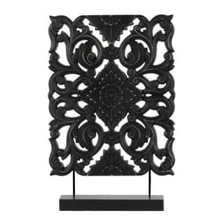 Urban Trends Collection Black Matte Wood Filigree Ornament|https://ak1.ostkcdn.com/images/products/13054866/P19792859.jpg?impolicy=medium