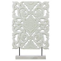 Urban Trends Collection White Wood Wide Rectangular Filigree Ornament on Stand