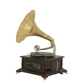 Urban Designs Brass and Wood Antique Replica Gramophone