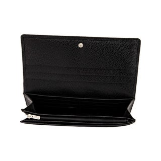 Longchamp Le Foulonne Black Leather Long-flap Continental Wallet