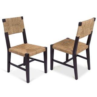 Birdrock Home Black/Tan Mahogany and Rush Fiber Woven Dining Chairs (Set of 2)