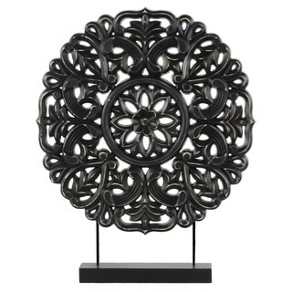 Urban Trends Collection Black Wood Round Buddhist Wheel Ornament on Stand