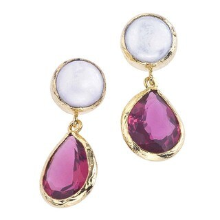 Women's Goldplated Pearl and Quartz Earrings By Ever One