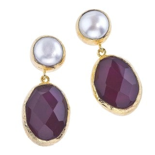 18k Goldplated Silver Pearl and Quartz Earrings by Ever One