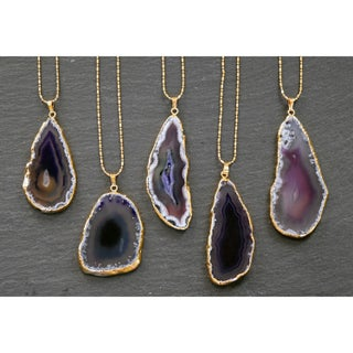 Mint Jules Gold Overlay 30-inch Agate Slice Pendant Necklace (2 options available)
