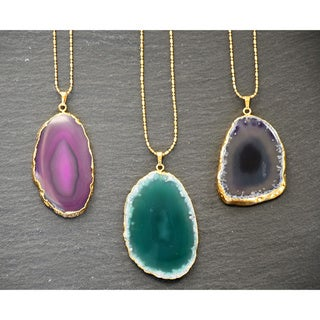 Mint Jules 24k Gold Overlay 30-inch Agate Slice Pendant Necklace