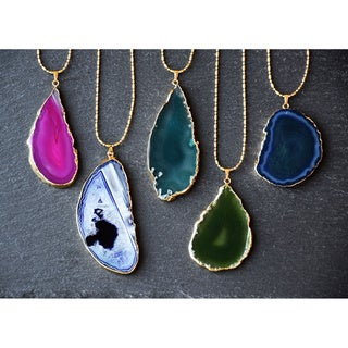 Mint Jules Gold Overlay 30-inch Agate Slice Pendant Necklace (3 options available)